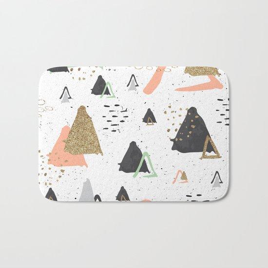 Triangles & textures watercolor Bath Mat