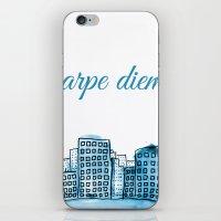 carpe diem iPhone & iPod Skins featuring Carpe Diem by Mankind Design
