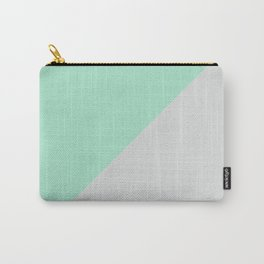 Turquoise gray abstract modern color block Carry-All Pouch