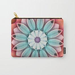 Peach Aqua Stippled Flower Kaleidoscope Carry-All Pouch