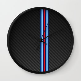 Carbon Racing Stripes Wall Clock