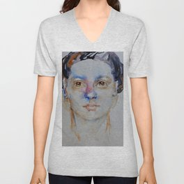 Blue girl, painting Unisex V-Neck