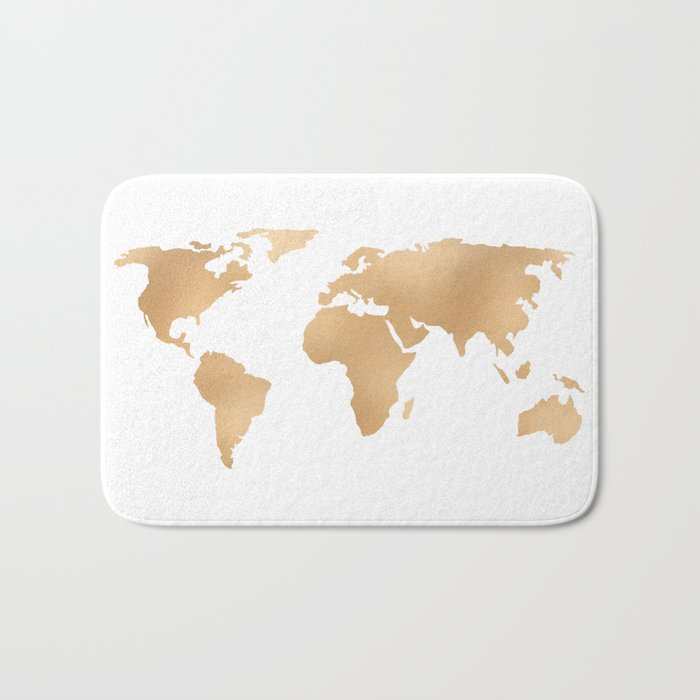 World Map Copper Bronze Gold Metallic Bath Mat