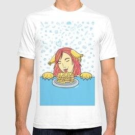 Cat Girl Pancakes Doodle  T-shirt