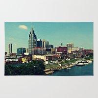 nashville Area & Throw Rugs featuring Nashville Skyline by Sydney Smith