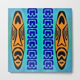 Tiki Blue Orange Metal Print