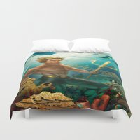 aquaman Duvet Covers featuring Aquaman Black Lagoon (Dark Water Version)  by Brian Hollins art