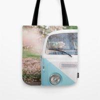 volkswagen Tote Bags featuring Vintage Volkswagen Van by Leslee Mitchell