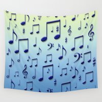 music notes Wall Tapestries featuring Music notes by Gaspar Avila