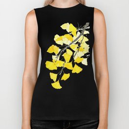 Golden Ginkgo Leaves Biker Tank