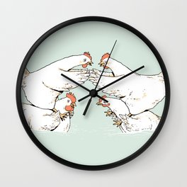Chicken Fight Wall Clock