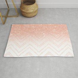 Faux salmon gold glitter ombre modern chevron pattern Rug