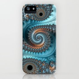 Feathery Flow - Teal and Taupe Fractal Art iPhone Case