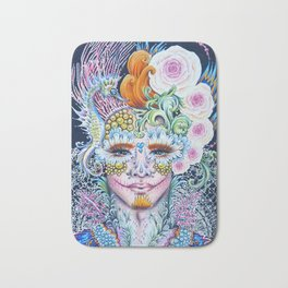 Sugar Skull Day of the Dead Floral Portrait with fantasy seahorse and lace Bath Mat