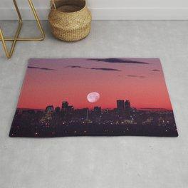 Super Moon City // View of Downtown Denver Colorado Redish Blue Skyline Rug