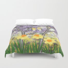 goldfinches, lilacs, & daffodils Duvet Cover