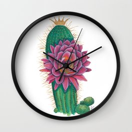 Crowned Cactus with Pink Flower Blossom Wall Clock