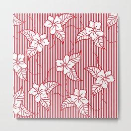 Fashion red flame scarlet white floral hand drawn geometric stripes pattern Metal Print