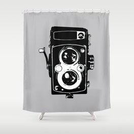 Big Vintage Camera Love - Black on Grey Background Shower Curtain