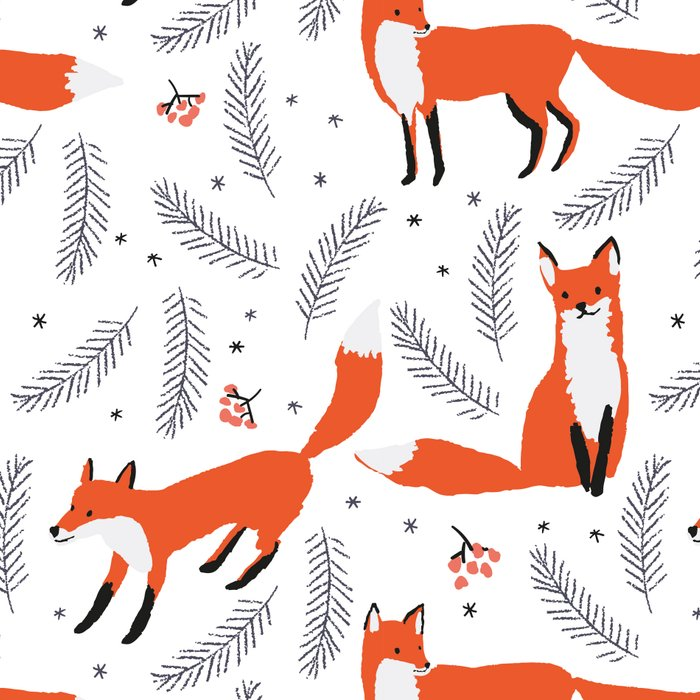 Red foxes and berries in the winter forest Leggings