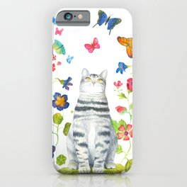 Tabby Cat with Butterflies and Flowers iPhone Case