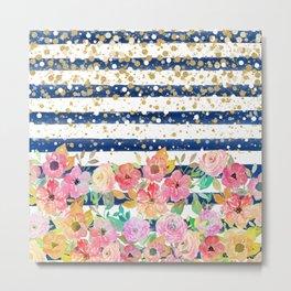 Watercolor floral stripes and confetti design Metal Print
