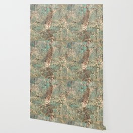 Turquoise and Fawn Brown Marble Wallpaper
