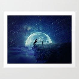 How to tame a unicorn? (night scene) Art Print