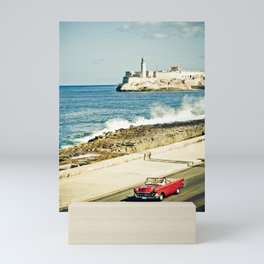 Old car on Malecon of Havana, Cuba Mini Art Print
