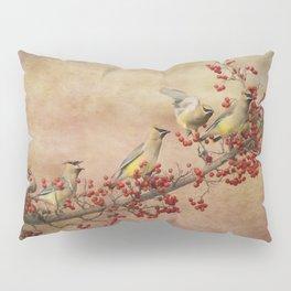 Cedar Waxwings Gathering Pillow Sham