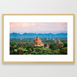 Temple glows in the fields of Bagan Fine Art Print Framed Art Print