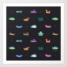 Sea slug - black Art Print