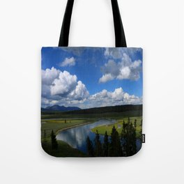 Meadow With Yellowstone River Tote Bag