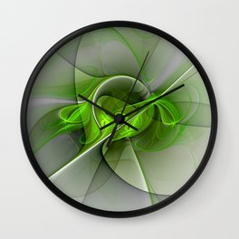 Abstract Green Fractal Art Wall Clock