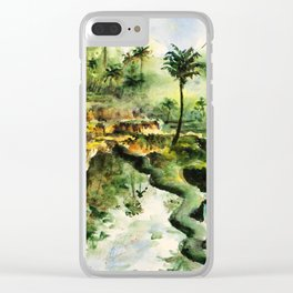 Sunny rice fields of Bali, Indonesia - Watercolor art Clear iPhone Case