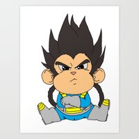 vegeta Art Prints featuring Monkey Vegeta by Kame Nico