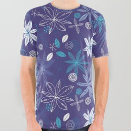 Blue Summer All Over Graphic Tee