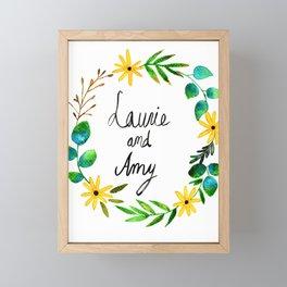 Little Women Amy and Laurie Flower Wreath Framed Mini Art Print