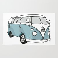 vw Area & Throw Rugs featuring VW Camper by 1and9