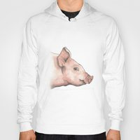 pig Hoodies featuring Pig by Marta Bocos