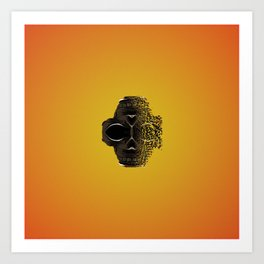 fractal black skull portrait with orange abstract background Art Print
