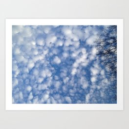Cottonball Sky with Electric Branches Art Print