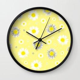 Daisies - Yellow Wall Clock
