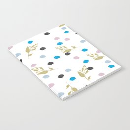 Chic gold glitter pink black blue brushstrokes floral Notebook