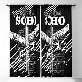 SoHo, New York Streets- white on black Blackout Curtain