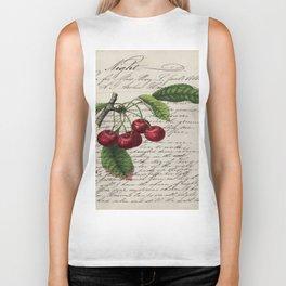 shabby elegance french country botanical illustration vintage red cherry Biker Tank