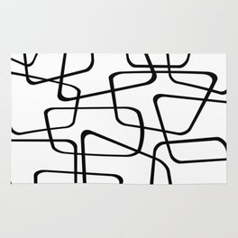 Mid Century Black And White Pattern Rug