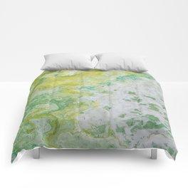 Lime Green Aqua Yellow Textured Abstract Comforters
