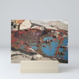 COLLAGE OF DECAY BOAT WRECK ABSTRACT Mini Art Print