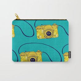 Vintage camera , retro floral camera , mustard yellow on teal Carry-All Pouch